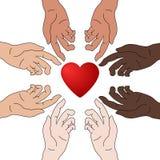 Concepto de caridad y de donación Las manos dan amor Igualdad de la raza Todo el mundo merece amor Dé y comparta su amor a la gen libre illustration