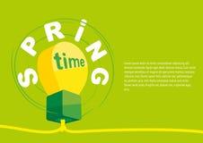 Concepto de cartel de la primavera La disposición de diseño en blanco de la bandera con una lámpara Fotografía de archivo
