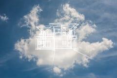 Concepto de casa ideal en cielo azul fotos de archivo libres de regalías