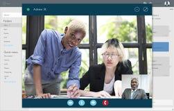 Concepto de charla de la comunicación de la conferencia video de la llamada imágenes de archivo libres de regalías