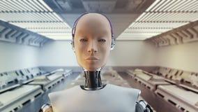 Concepto de ciencia ficción femenina humanoid futurista del retrato en el estilo del metal y de los alambres realistas almacen de metraje de vídeo