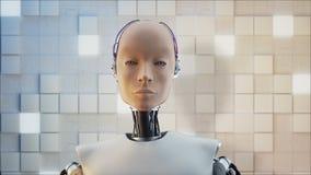 Concepto de ciencia ficción femenina Humanoid futurista del retrato en el estilo realista almacen de metraje de vídeo