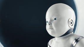 Concepto de ciencia ficción humanoid futurista del retrato del niño en el estilo del fondo del metal y de los alambres stock de ilustración