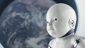 Concepto de ciencia ficción humanoid futurista del retrato del niño en el estilo del fondo del metal y de los alambres ilustración del vector