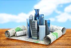 Concepto de ciudades del edificio para las publicaciones de negocio stock de ilustración