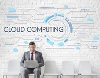 Concepto de Cloud Computing Graphic del hombre de negocios imágenes de archivo libres de regalías