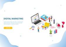 Concepto de comercialización digital isométrico para el homepage del aterrizaje de la bandera de la plantilla de la página web stock de ilustración