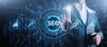 Concepto de comercialización digital de la tecnología del negocio de la optimización del motor de SEO Search stock de ilustración
