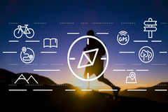 Concepto de Compass Orientation Travelling del navegador de la navegación imágenes de archivo libres de regalías