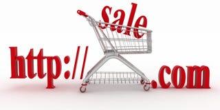 Concepto de compras en los sitios web del anuncio publicitario Imagen de archivo