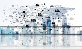 Concepto de comunicación global y de establecimiento de una red con el mapa del mundo sobre paisaje urbano ilustración del vector