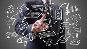Concepto de comunicación mostrado por un hombre de negocios imagen de archivo libre de regalías
