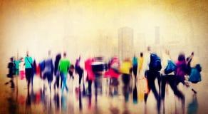 Concepto de conmutación casual de la ciudad de la hora punta de la gente que camina Fotografía de archivo libre de regalías