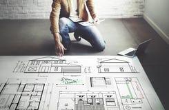 Concepto de Construction Project Sketch del arquitecto del modelo Imagenes de archivo