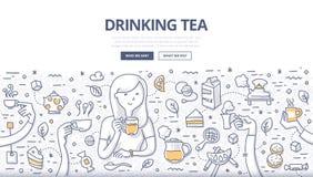 Concepto de consumición del garabato del té stock de ilustración