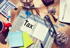 Concepto de contabilidad financiero de la economía del pago de impuestos foto de archivo