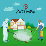 Concepto de control de parásito con el ejemplo plano del vector de la silueta del exterminador de los insectos Fotos de archivo