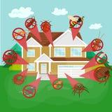 Concepto de control de parásito con el ejemplo plano del vector de la silueta del exterminador de los insectos Foto de archivo