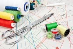 Concepto de costura: tijeras del metal, cuerdas de rosca Imágenes de archivo libres de regalías