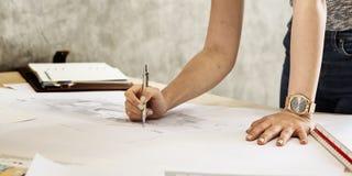 Concepto de Creative Occupation Blueprint del arquitecto del estudio del diseño Imágenes de archivo libres de regalías