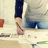Concepto de Creative Occupation Blueprint del arquitecto del estudio del diseño Imagenes de archivo