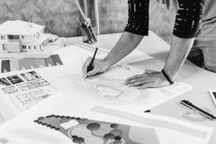 Concepto de Creative Occupation Blueprint del arquitecto del estudio del diseño Fotografía de archivo