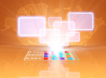 Concepto de cristal de la opción de la pantalla táctil del teléfono Imagen de archivo libre de regalías