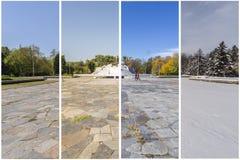 Concepto de cuatro estaciones El efecto de las 4 estaciones sobre la e urbana imagen de archivo libre de regalías