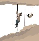 Concepto de cuerda que sube del hombre al cielo Foto de archivo libre de regalías