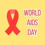 Concepto de Día Mundial del Sida con la cinta roja Imagenes de archivo