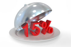 concepto de 15%, de la venta y del descuento Foto de archivo libre de regalías