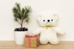 Concepto de decoración interior Juguete del oso blanco para el bebé, caja de regalo, árbol de abeto en el pote blanco Fotografía de archivo libre de regalías