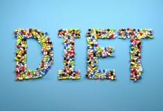 Concepto de dieta Redacte la dieta hecha de píldoras y de cápsula coloridas Fotografía de archivo libre de regalías