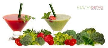 Concepto de dieta sano Smoothies con la fruta fresca y Vegatabl Foto de archivo