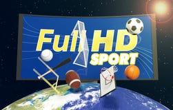Concepto de difusión del deporte por todo el mundo Imágenes de archivo libres de regalías