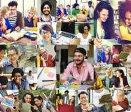 Concepto de Digital Devices Teamwork del estudiante universitario de la diversidad imagenes de archivo