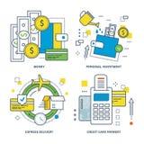 Concepto de dinero, inversión personal, envío express, pago con tarjeta de crédito ilustración del vector
