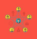 Concepto de dirección, hombres de negocios de la comunidad Ico plano del estilo Imagen de archivo
