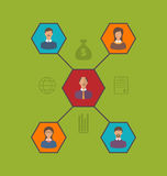 Concepto de dirección y de hombres de negocios del equipo Icono plano del estilo Fotografía de archivo