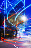 Concepto de Disctric del negocio de Hong Kong Neon Lights Building Imagen de archivo libre de regalías