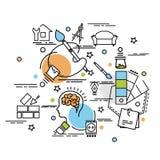 Concepto de diseño colorido plano para el diseño interior libre illustration