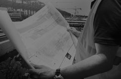 Concepto de diseño de Blueprint Built Construction del arquitecto Fotos de archivo