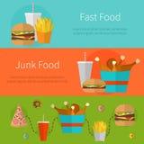 Concepto de diseño de la bandera de los alimentos de preparación rápida Iconos planos de la comida basura Imagen de archivo