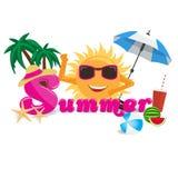 Concepto de diseño de la bandera del vector del verano con caligrafía de la historieta del verano con los elementos del verano Imagen de archivo