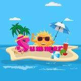 Concepto de diseño de la bandera del vector del verano con caligrafía de la historieta del verano e isla de la playa con los elem Fotos de archivo
