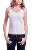 Concepto de diseño de la camiseta - mujer en camiseta blanca en blanco Imagen de archivo