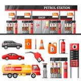 Concepto de diseño de la gasolinera ilustración del vector
