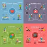 Concepto de diseño de la rehabilitación 2x2 de la fisioterapia stock de ilustración