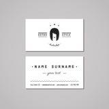 Concepto de diseño de la tarjeta de visita de la barbería Logotipo de la barbería con la mujer larga del pelo Tarjeta de visita d Fotos de archivo libres de regalías
