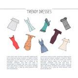 Concepto de diseño de moda dibujado mano de los vestidos Vestidos de la moda con s Foto de archivo